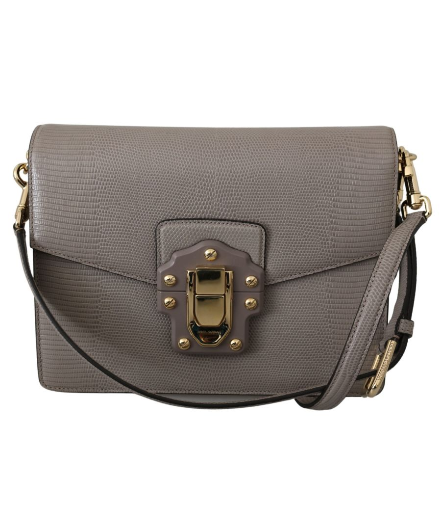 Image for Dolce & Gabbana Gray Leather LUCIA Shoulder Messenger Purse