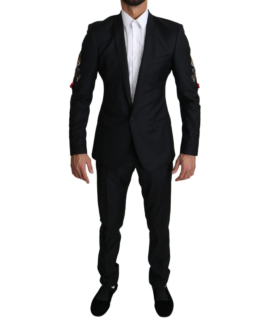 Image for Dolce & Gabbana GOLD  Black 2 Piece FOX Embroidered Suit