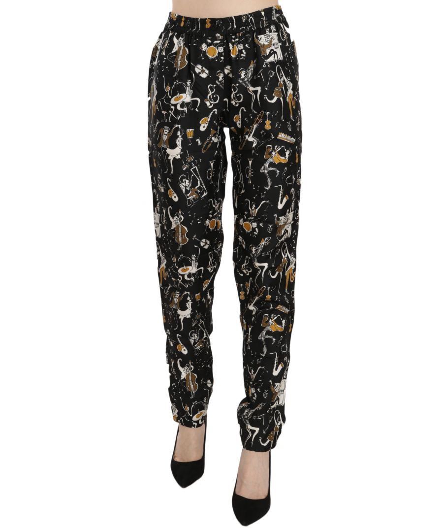 Image for Dolce & Gabbana Black Jazz Club Print High Waist Tapered Pants