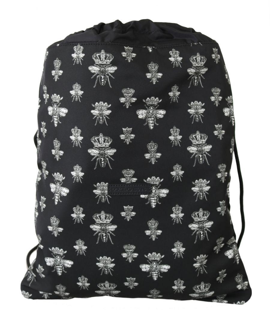 Image for Dolce & Gabbana Black Bee Crown Adjustable Drawstring Women Nap Sack Bag