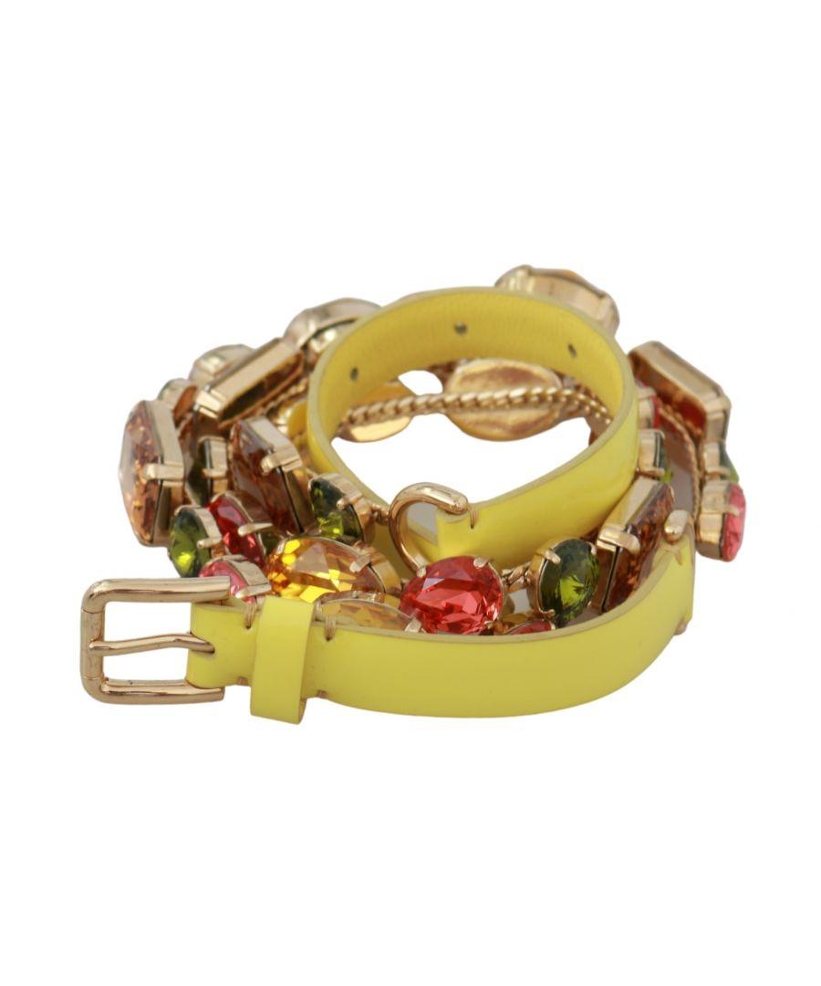 Image for Dolce & Gabbana Gelbgold Multicolor Kristalle Taille Gürtel