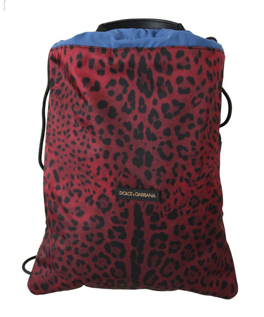Image for Dolce & Gabbana Red Leopard Adjustable Drawstring Women Nap Sack Bag