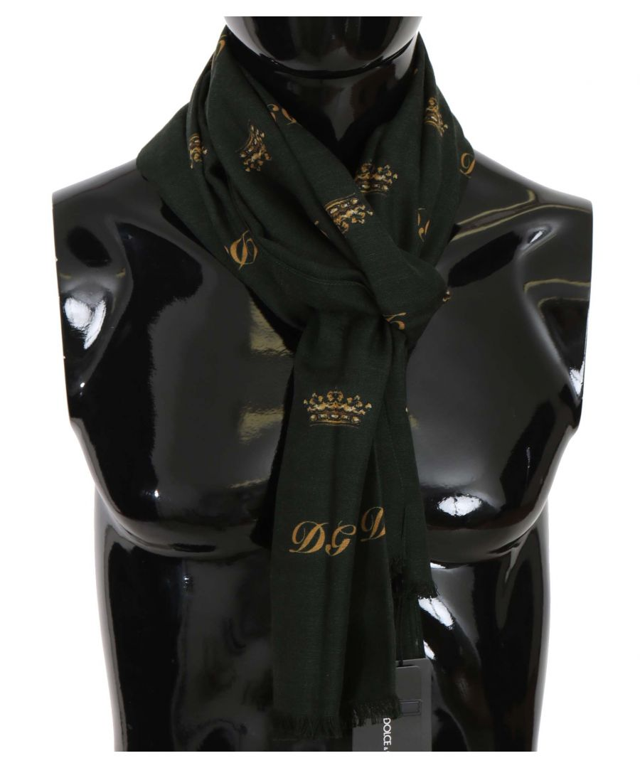 Image for Dolce & Gabbana Green Silk Wool Crown Pattern Mens Wrap Scarf