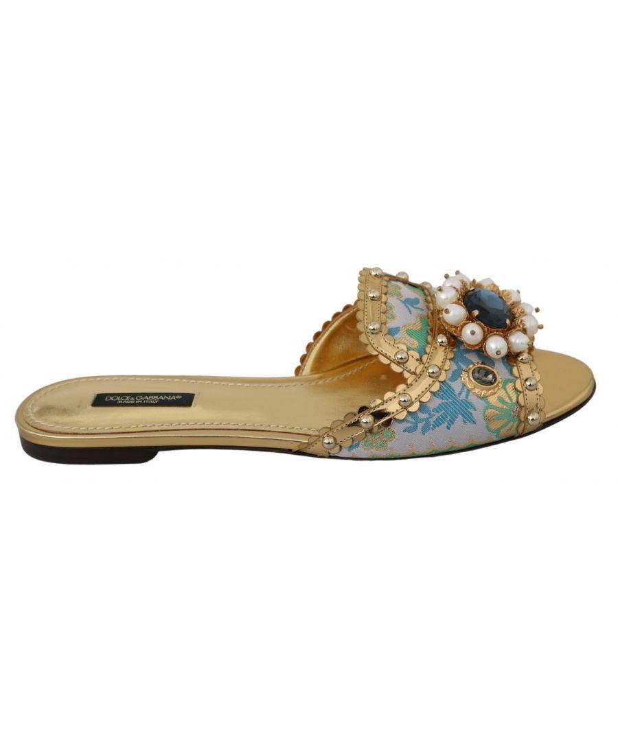 Image for Dolce & Gabbana Gold Crystal Sandals Slides Flats Shoes