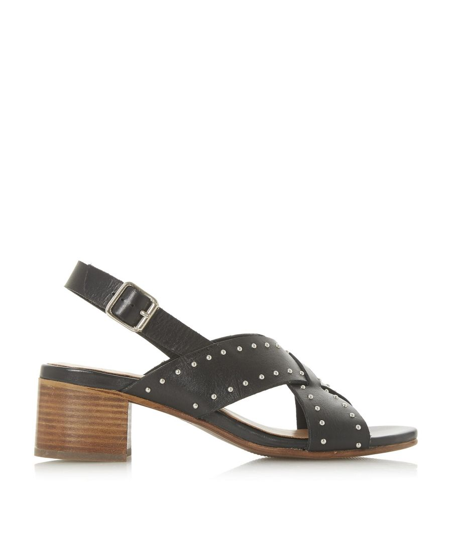 Image for Bertie Ladies INDYGO Stud Cross Strap Mid Block Heel Sandals