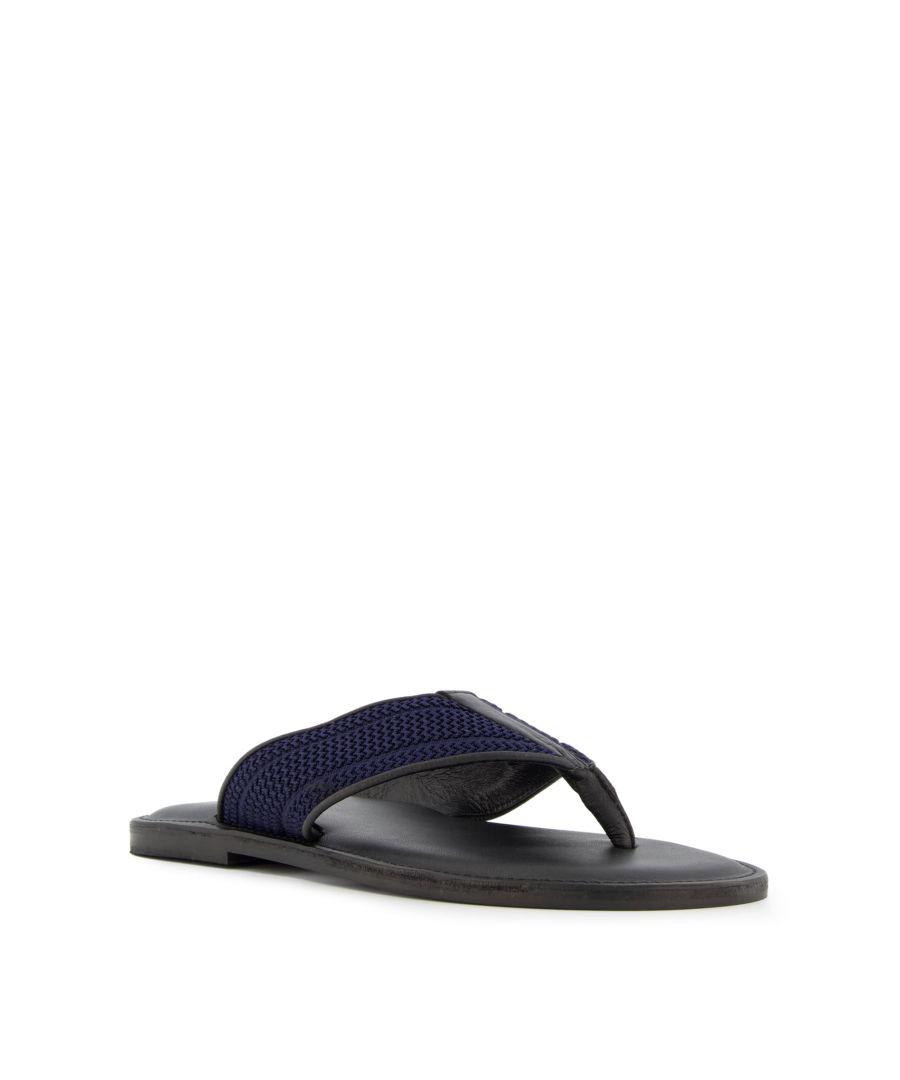 Image for Dune Mens INQUEST Chevron Detail Toe Post Sandals
