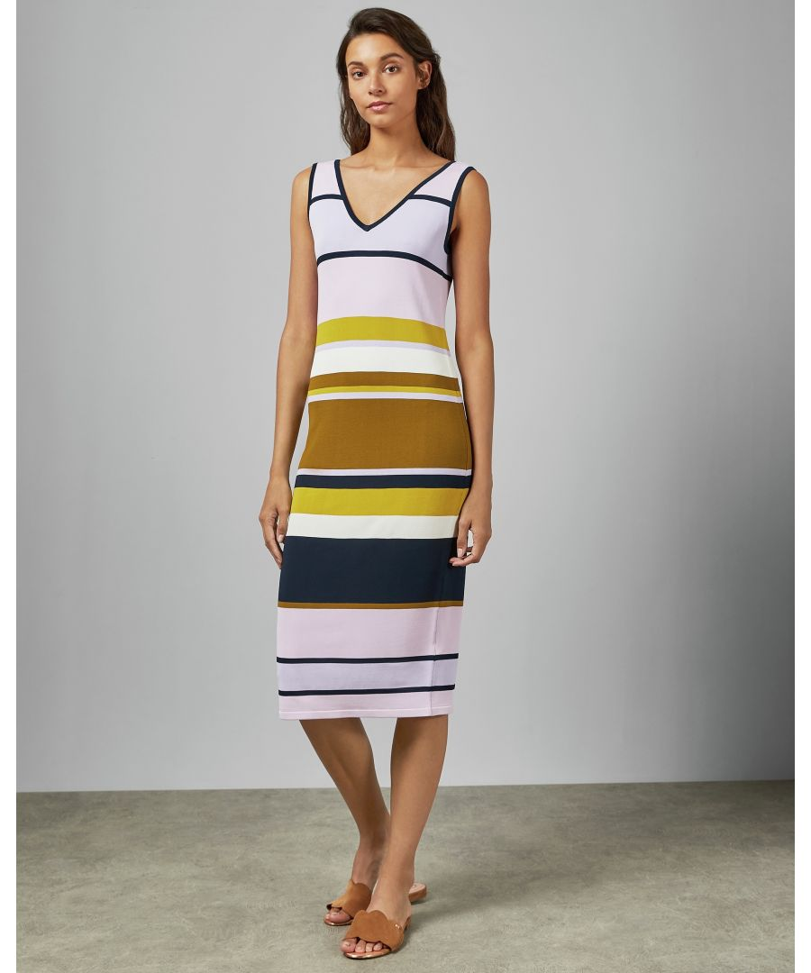 Image for Ted Baker Izlie Stripe Knitted Maxi Dress, Dusky Pink