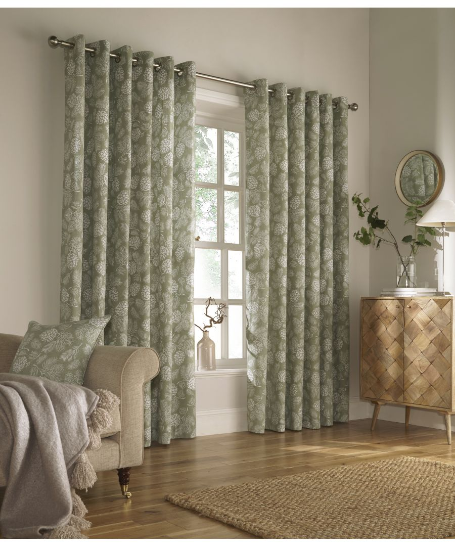 Image for Irwin Printed Woodland Eyelet Curtains in Sage