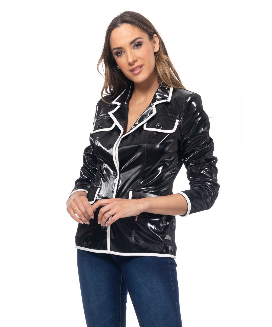 Image for Patent leather jacket with white pipping