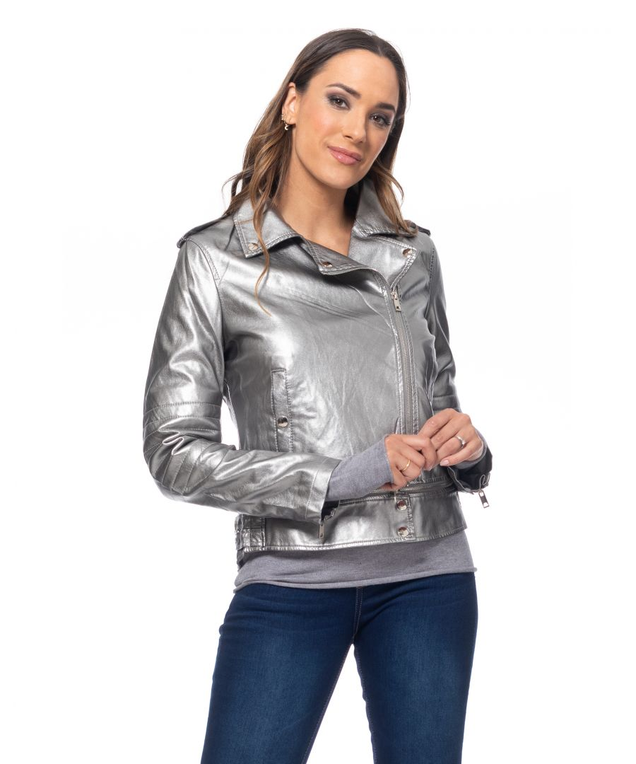 Image for Perfect Metallic Jacket with removable zippers
