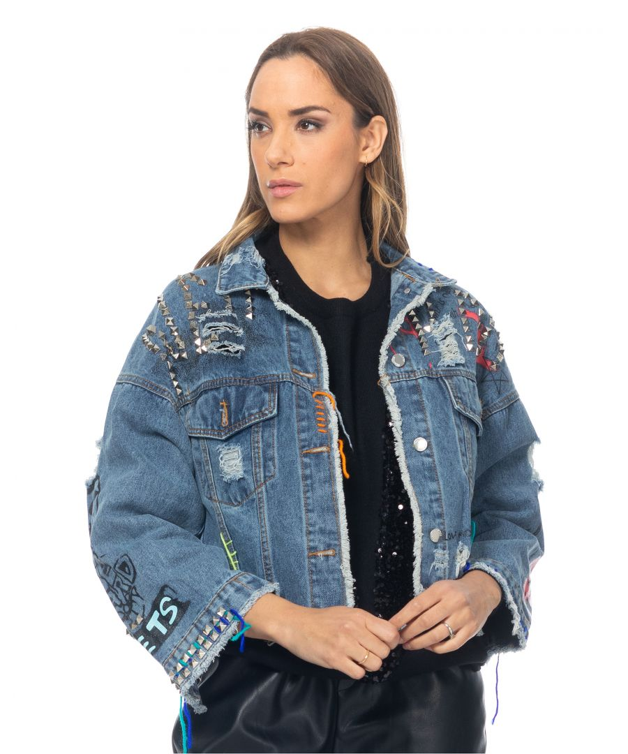Image for Short denim jacket with tacks prints and embroidery