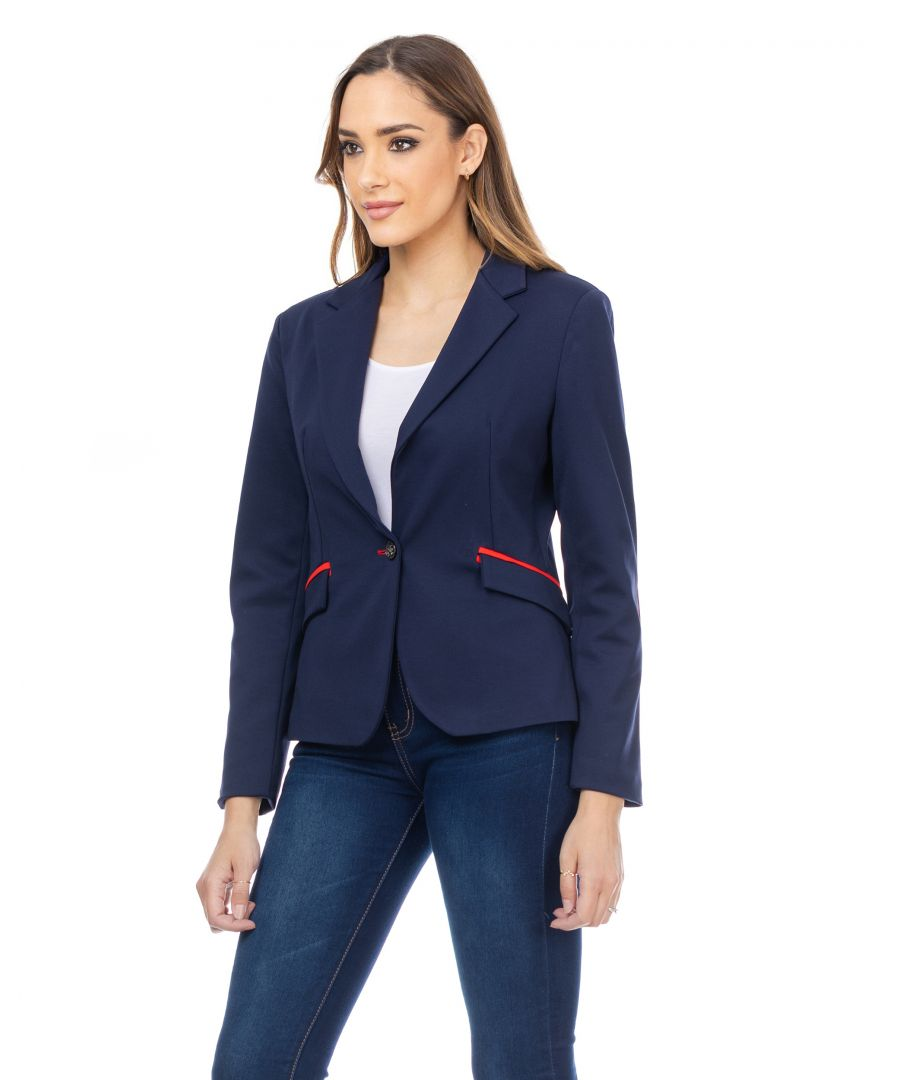 Image for Fitted jacket with elbow patches and trim