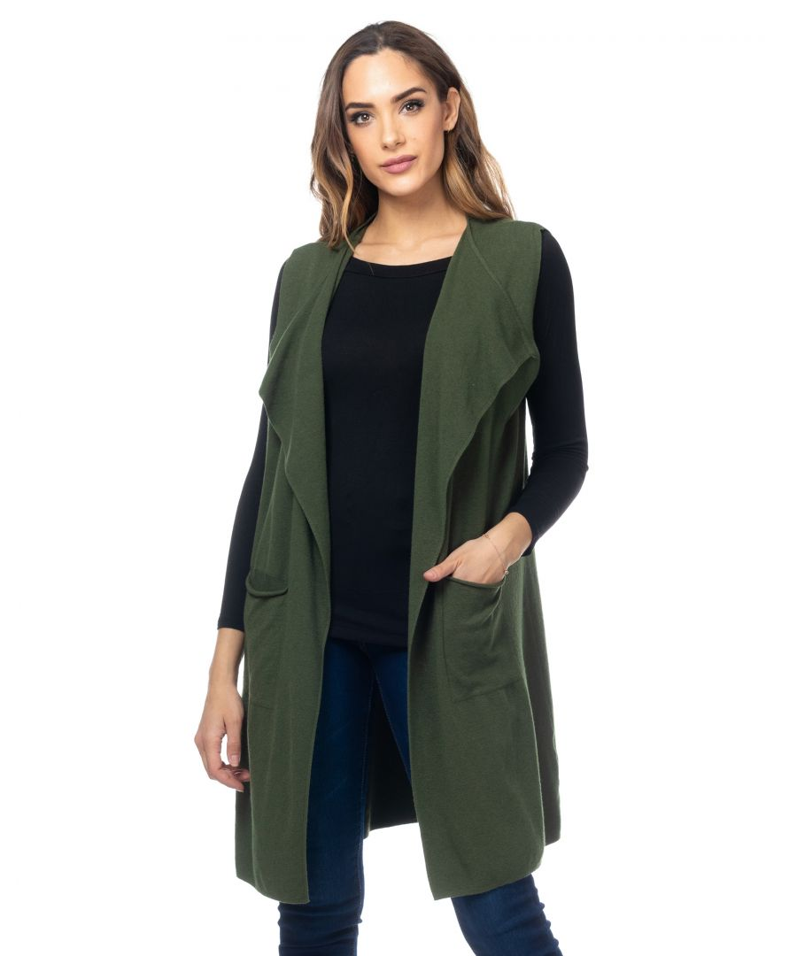Image for Long sleeveless cardigan with pockets