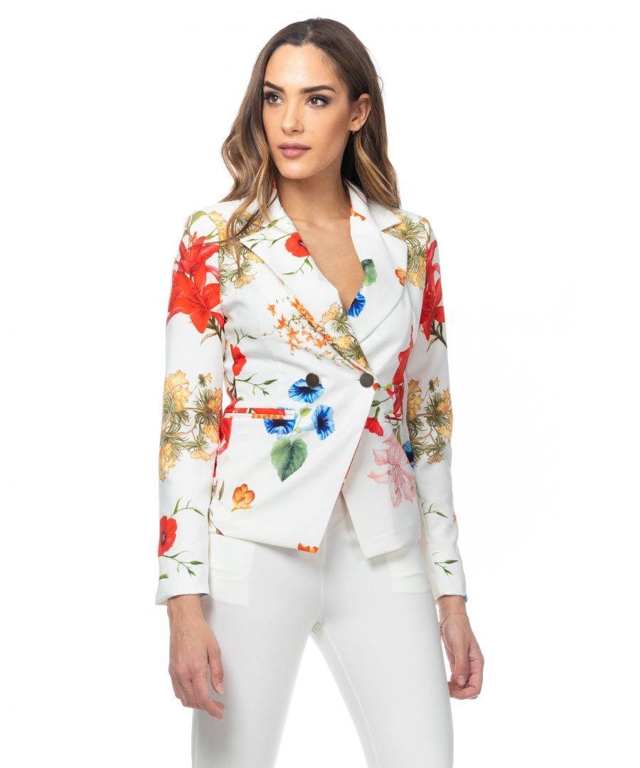 Image for Flower print jacket with gold buttons