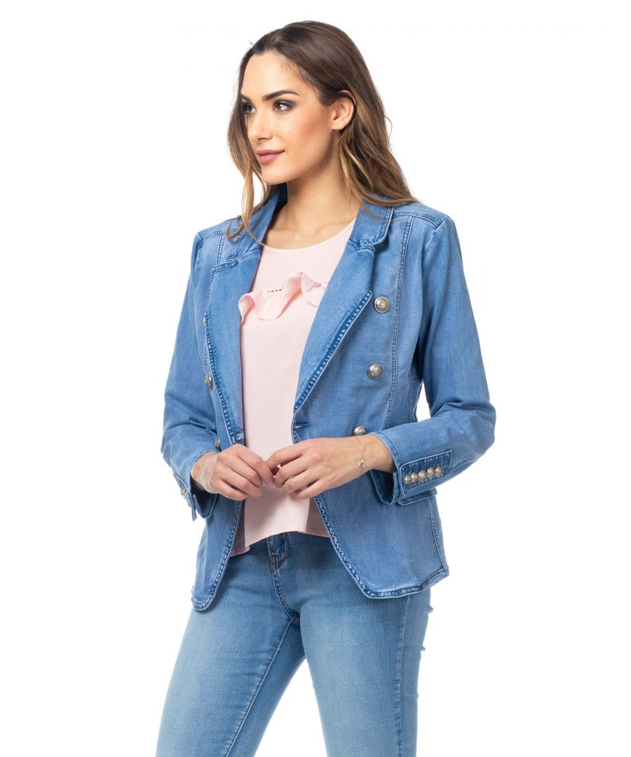 Image for Double-breasted denim jacket with buttons with military crest and pockets