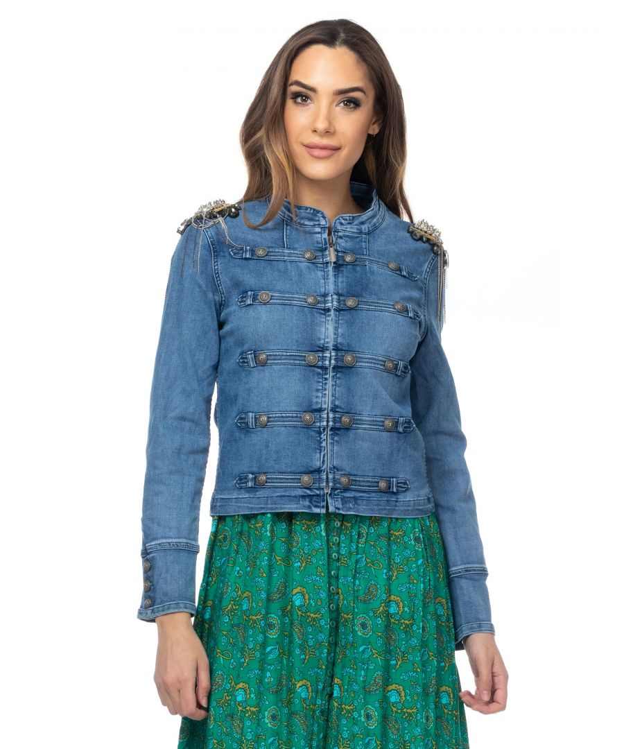 Image for Military-style denim jacket with rhinestones on the shoulders