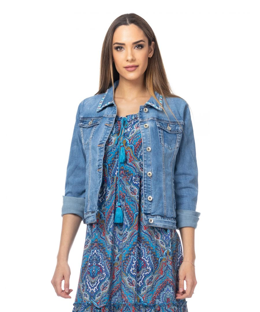 Image for Denim jacket with ethnic embroidery back