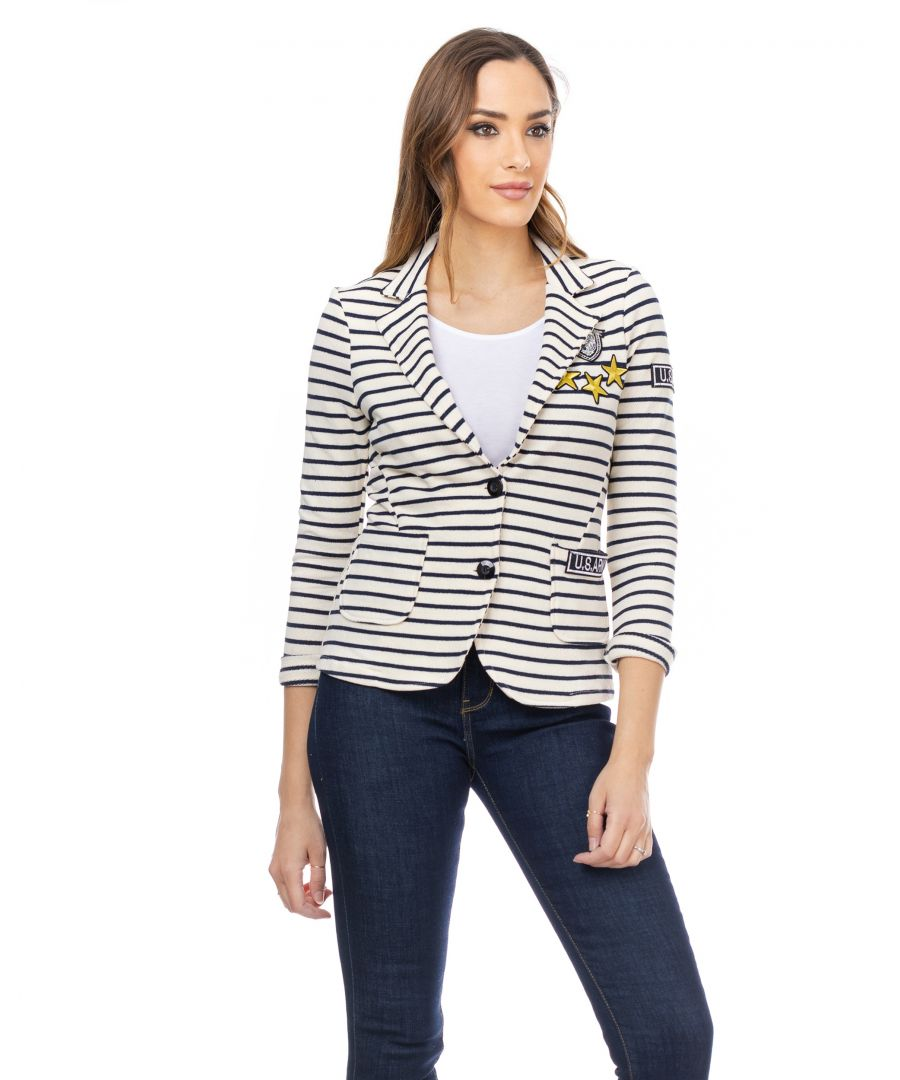 Image for Striped jacket with buttons, pockets and stickers