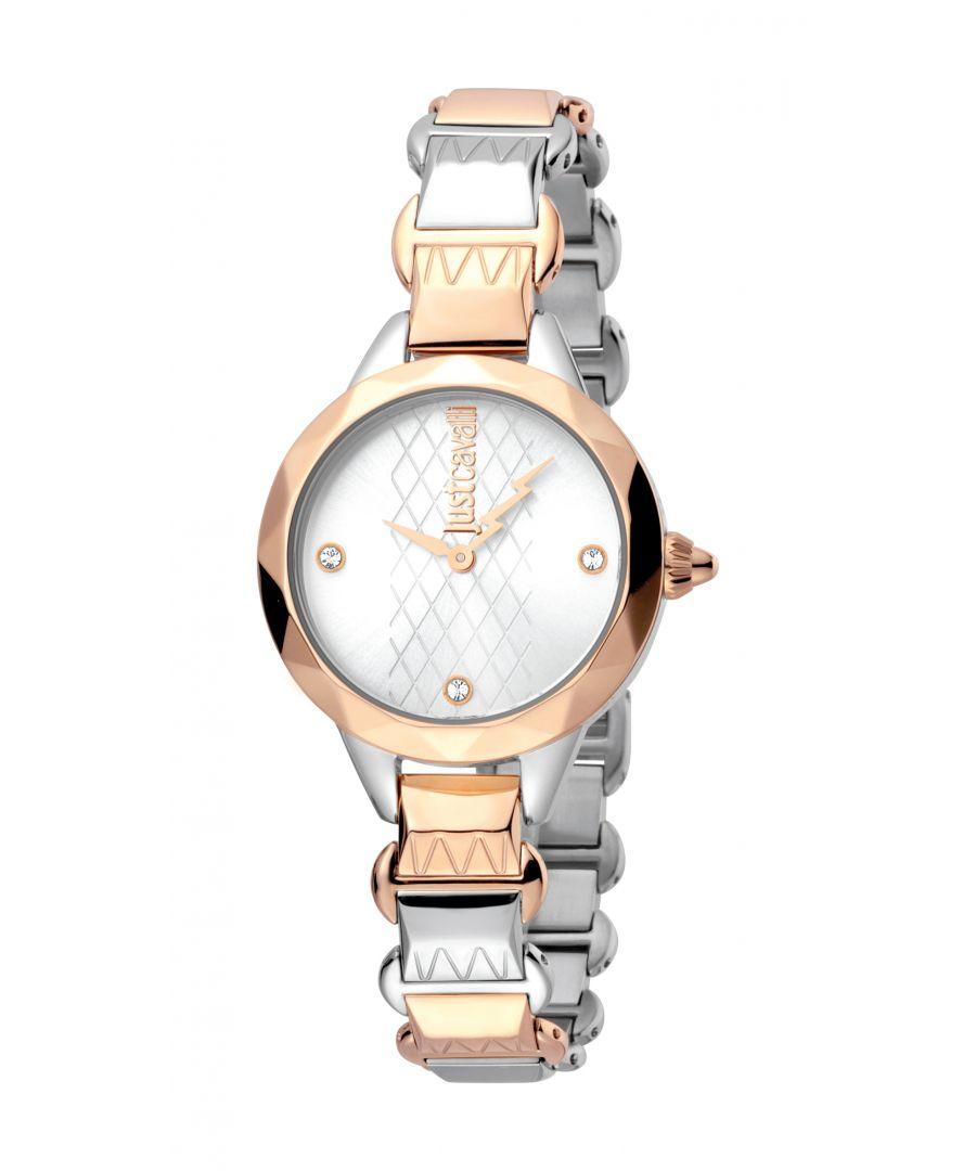 Image for Just Cavalli Estro Quartz Rose Gold & Silver Dial Ladies Watch