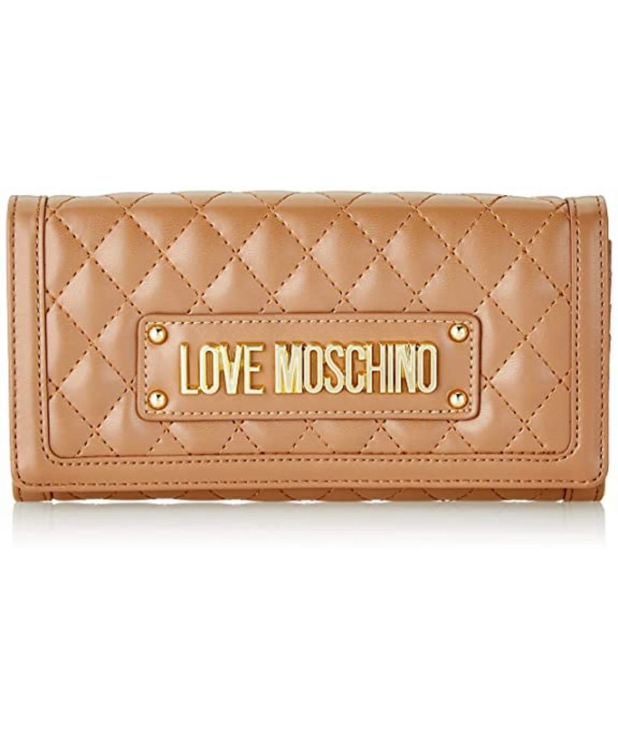 Image for Love Moschino Quilted Gold Chain Large Wallet in Brown