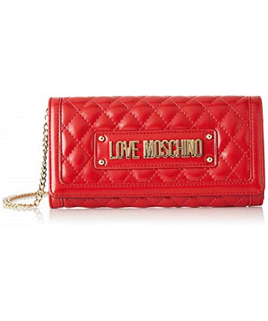 Image for Love Moschino Quilted Gold Chain Large Wallet in Red