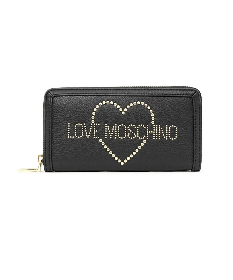 Image for Love Moschino Zip Around Heart Imprinted Wallet in Black