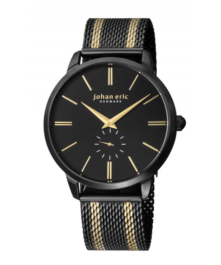 Image for Johan Eric Men's Kolding Watch W/ Mesh Strap, Black/Yellow Golden