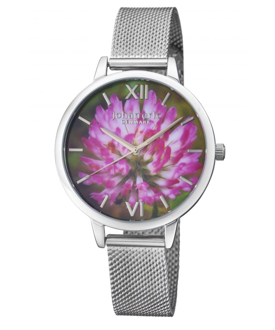 Image for Johan Eric 38mm Rodklover Flower Watch W/ Mesh Strap, Silvertone