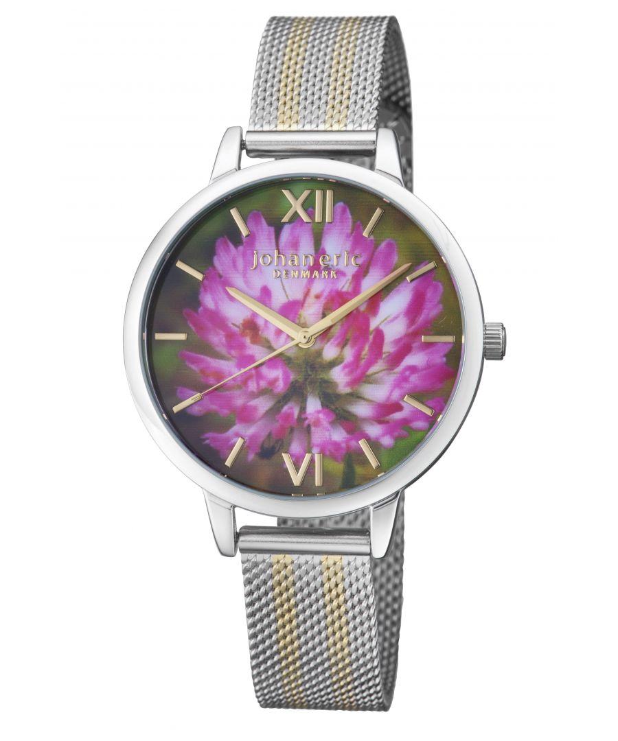 Image for Johan Eric 38mm Rodklover Flower Watch W/ Mesh Strap, Golden/Silvertone