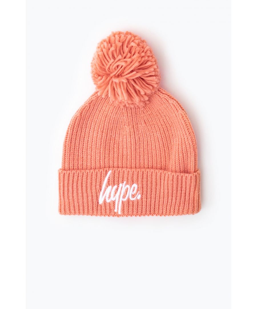 Image for Hype Pink Knit Ribbed Bobble Beanie