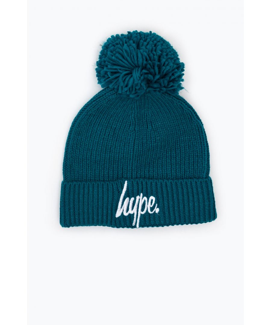 Image for Hype Ocean Green Knit Ribbed Bobble Beanie
