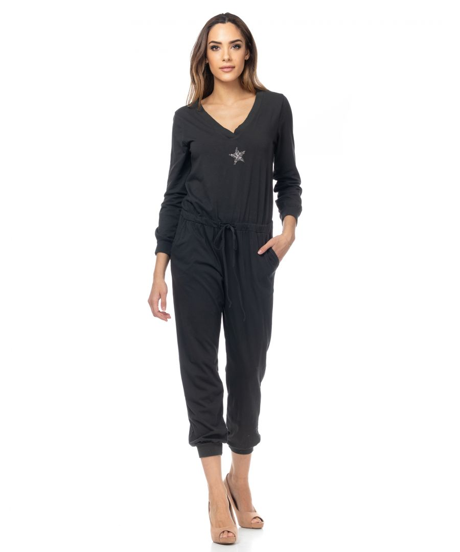 Image for Jumpsuit with drawstring waist, rhinestone star and V-neck