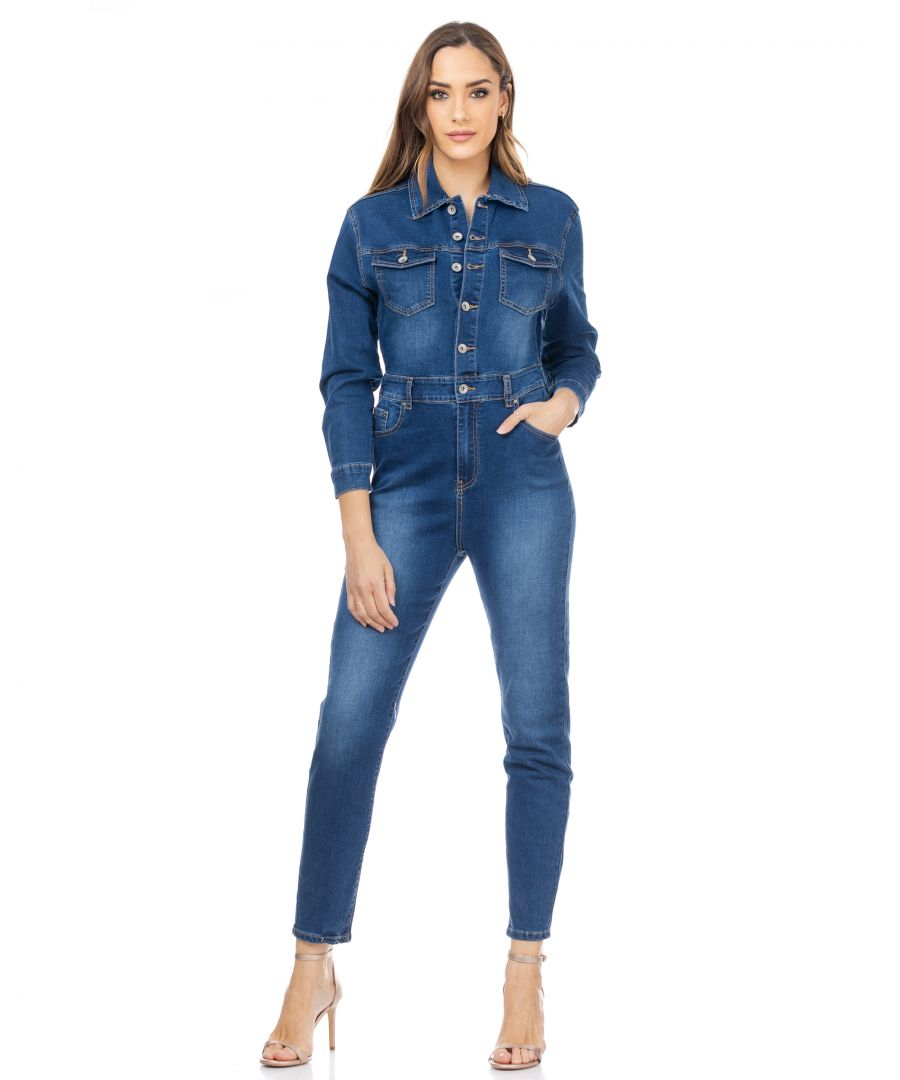 Image for Denim high waisted flared pants with 3 buttons