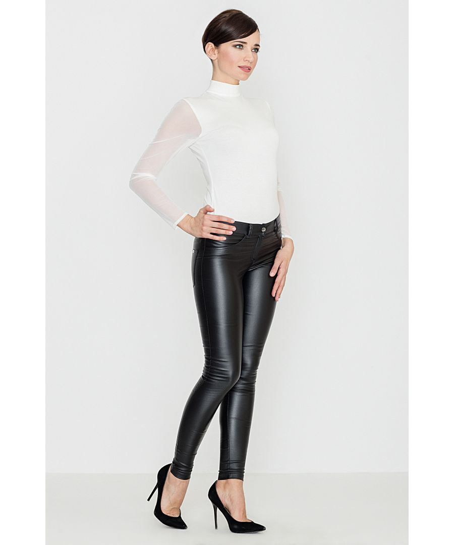 Image for Eco-Leather Trousers with Straight Fit Legs