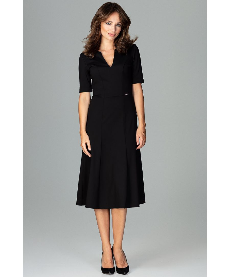 Image for Black Midi Dress With Gussets With 3/4 Sleeves