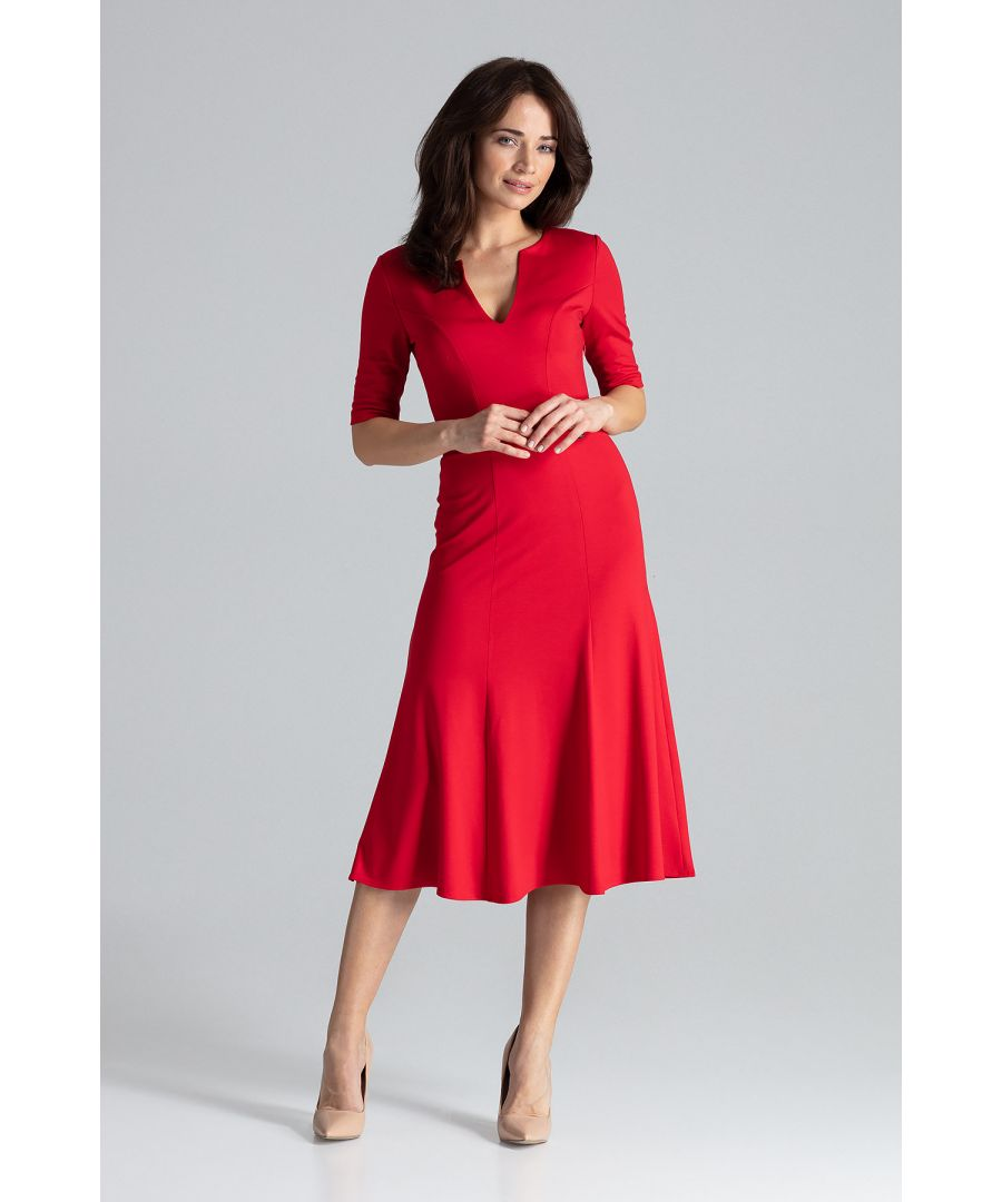 Image for Midi Dress With Gussets With 3/4 Sleeves
