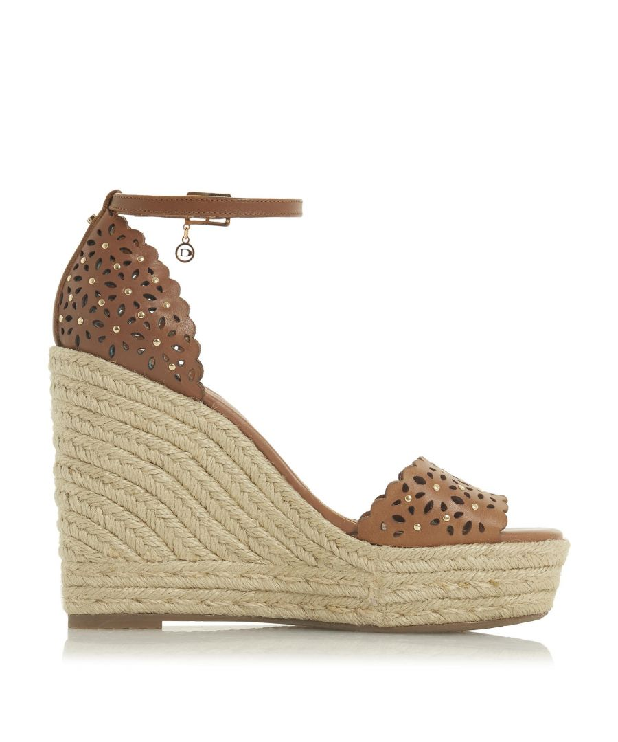 Image for Dune Ladies KAMILEA Floral Cut Out Stud Detail High Wedged Espadrille
