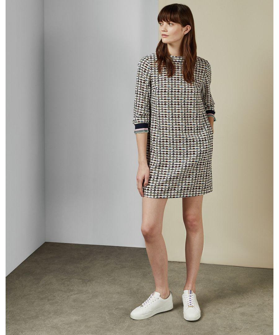 Image for Ted Baker Karleen Cbn Triangle Print Shift Dress, Ivory