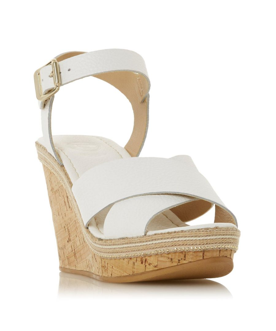 Image for Dune Ladies KARLLOTTA Cross Over Cork Wedge Heel Sandal