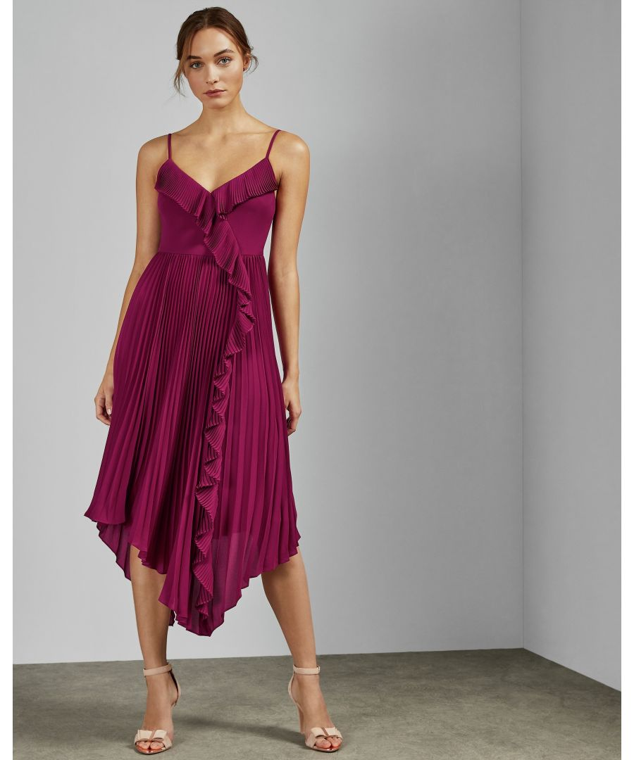 Image for Ted Baker Kattyy Strappy Pleated V Neck Dress, Deep Pink