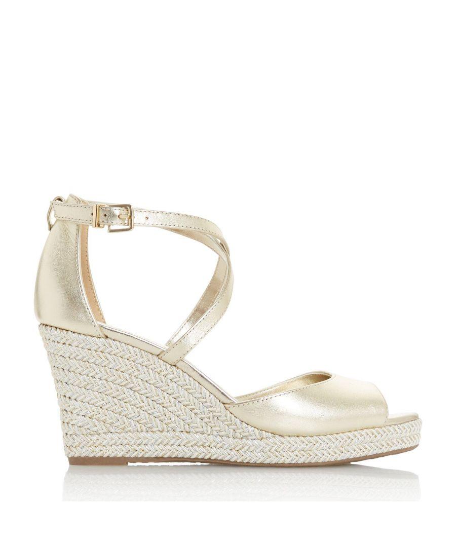 Image for Dune Ladies KIMCHI Cross Strap Espadrille Wedge Sandals