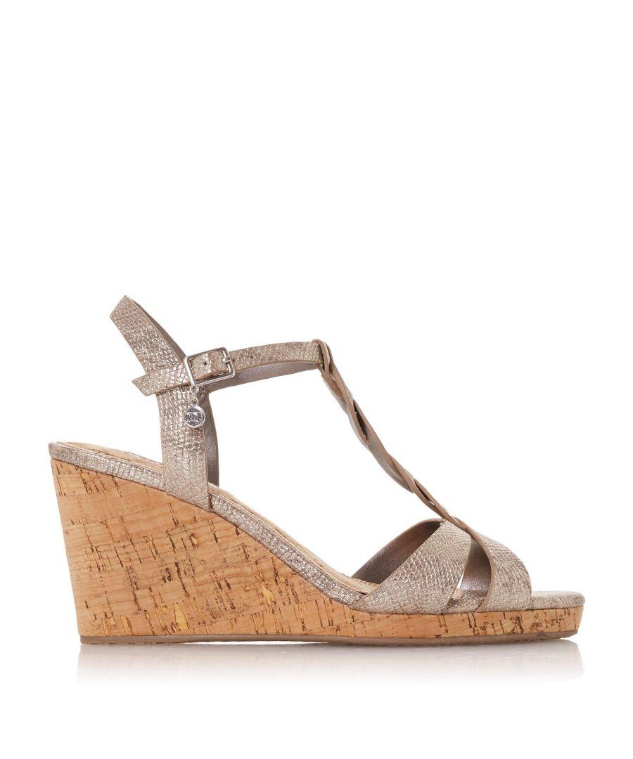 Image for Dune Ladies KOALA Plait T-Bar Strap Cork Wedge Heel