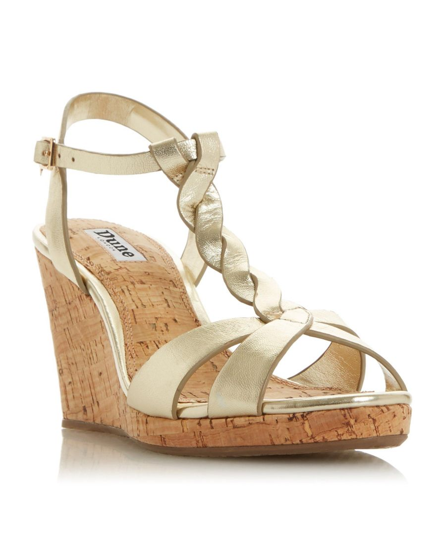 Image for Dune Ladies KOALA Plait T-Bar Strap Cork Wedge Heel