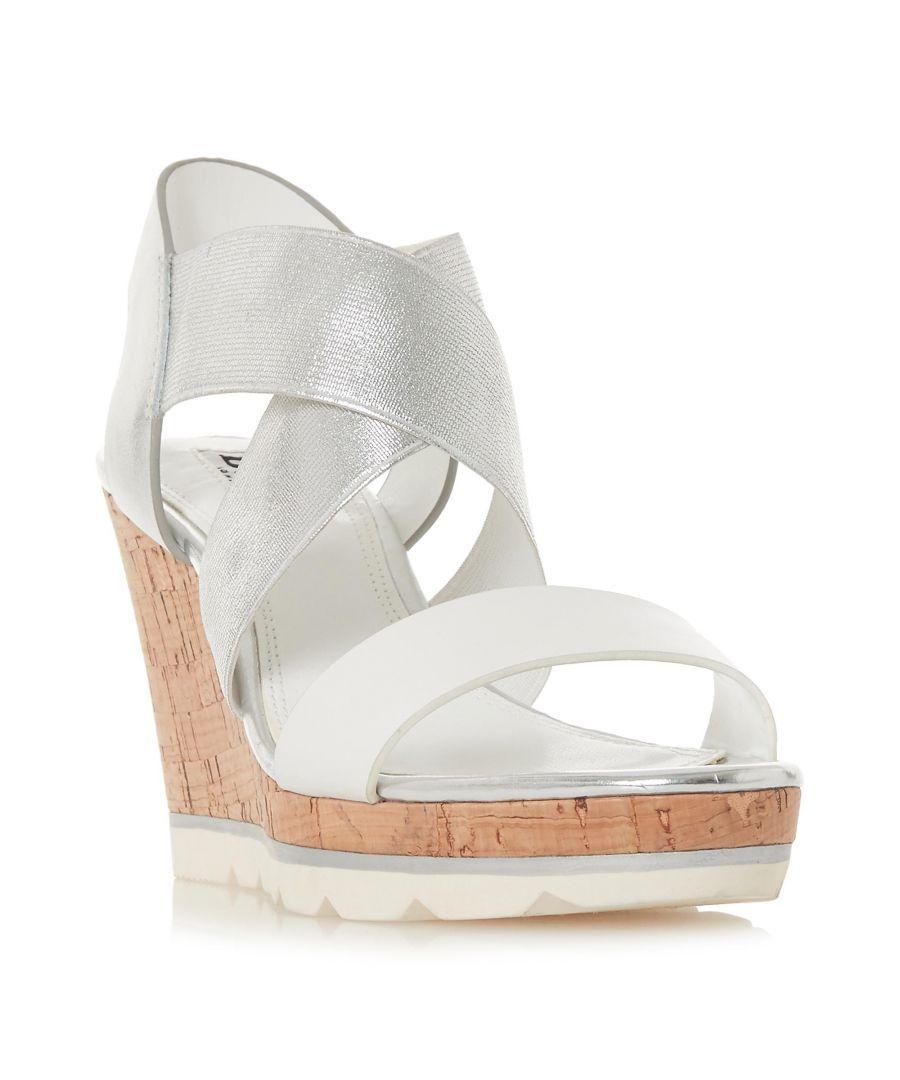 Image for Dune Ladies KOS Cross Strap High Wedge Heel