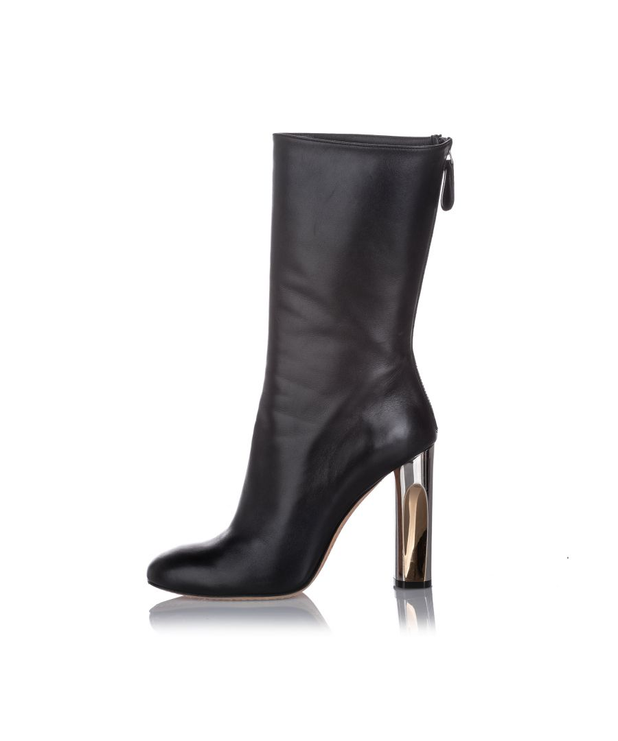 Image for Alexander McQueen Sculpted Heel Leather Boot Black