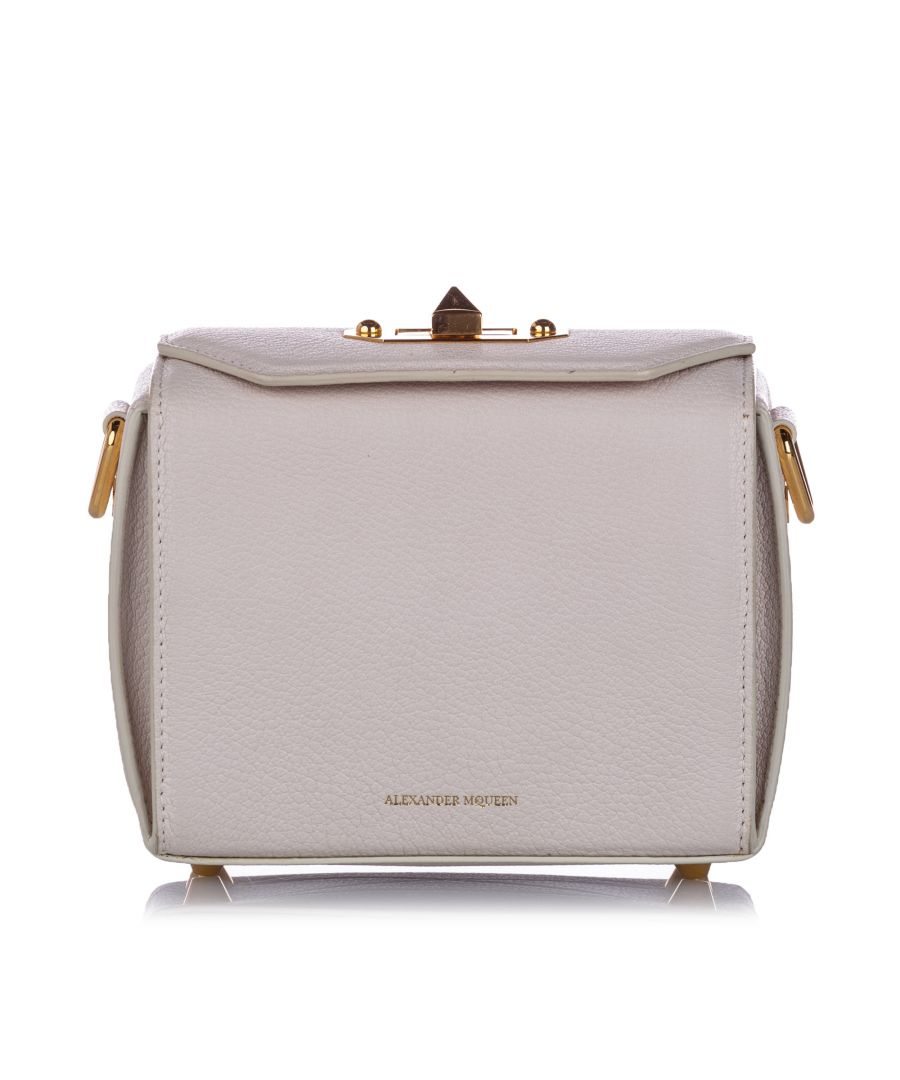 Image for Vintage Alexander McQueen Box 16 Leather Crossbody Bag White