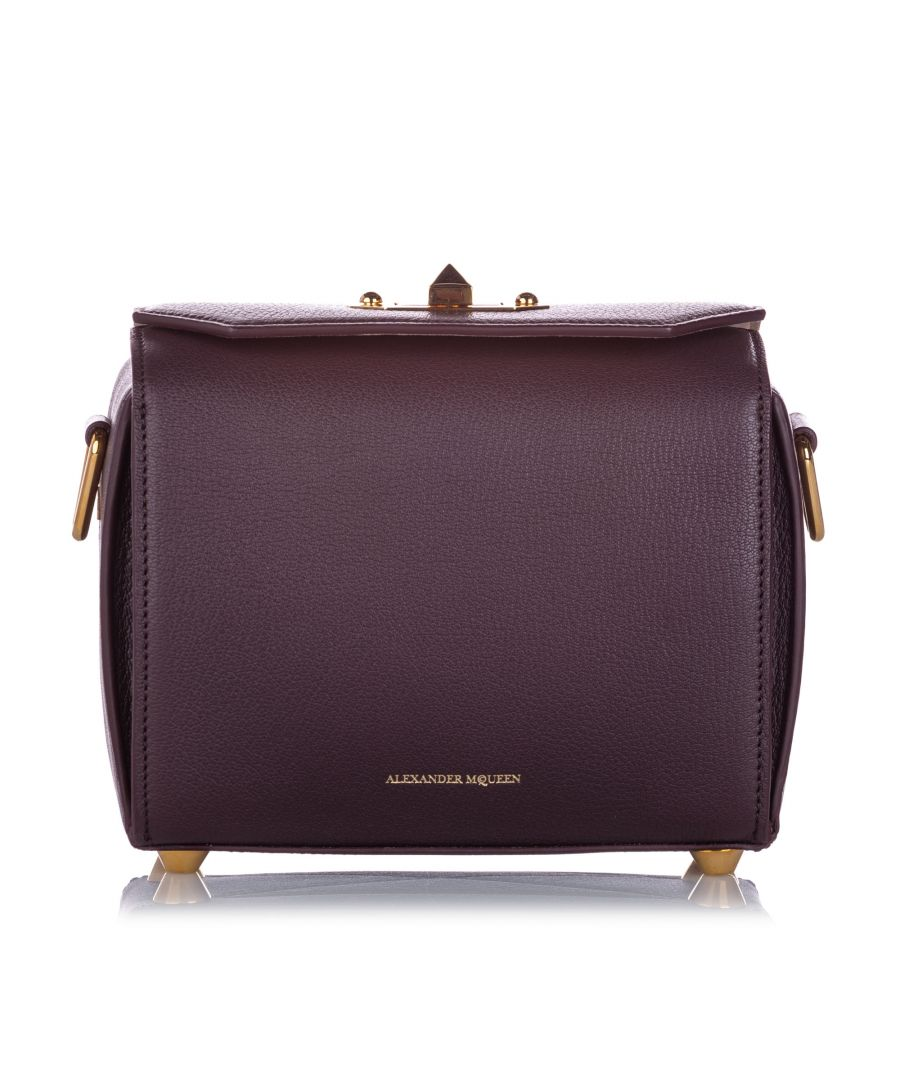 Image for Alexander McQueen Box 19 Leather Crossbody Bag Burgundy
