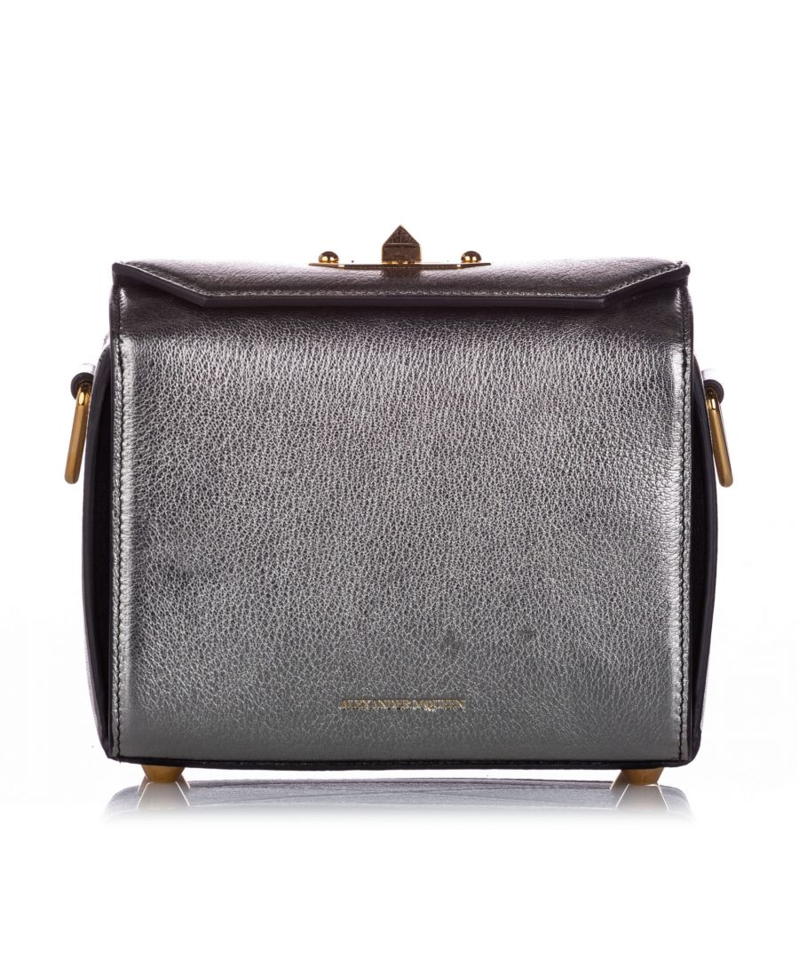 Image for Alexander McQueen Box 19 Leather Crossbody Bag Silver
