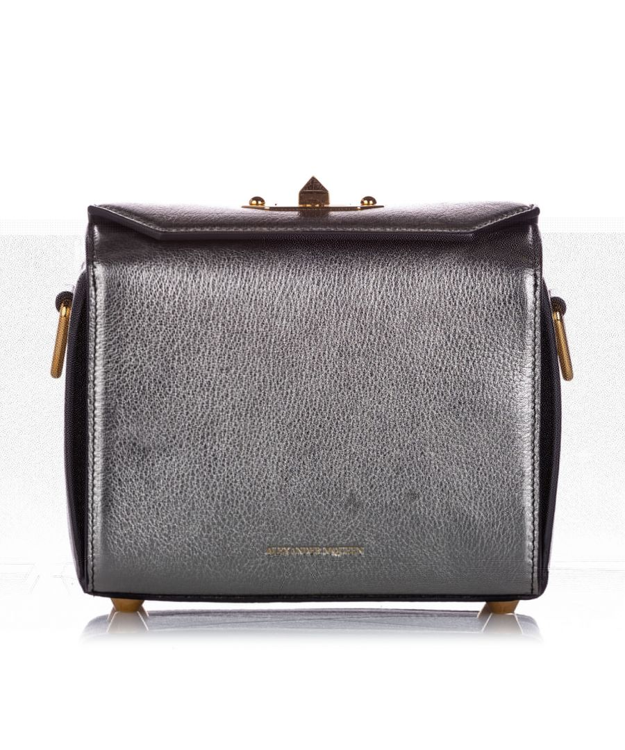 Image for Vintage Alexander McQueen Box 19 Leather Crossbody Bag Silver
