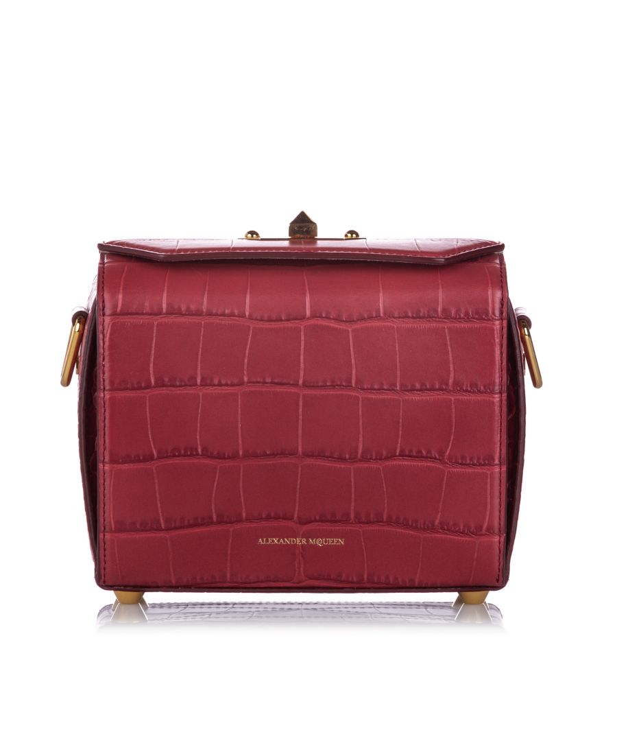 Image for Alexander McQueen Box 19 Embossed Leather Crossbody Bag Red Print